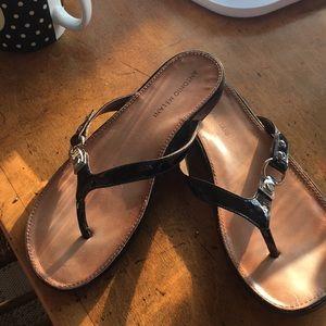 Black patent leather summer sandal